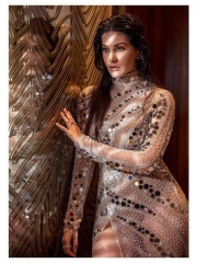 Amyra Dastur Sultry Poses In Shiny Dress 1