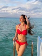 Aditi Budhakothi is Pretty Looks in a Red Bikini Dress 1